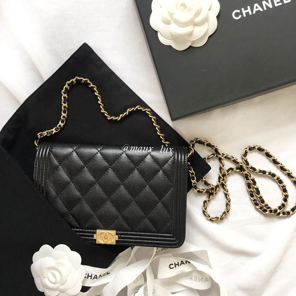 2237616558ff Caviar Chanel Boy Wallet on Chain